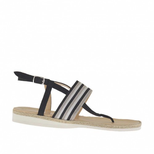 Woman's thong sandal in glitter laminated black, silver laminated and grey suede with rope and rubber wedge heel 1.5 - Available sizes:  33
