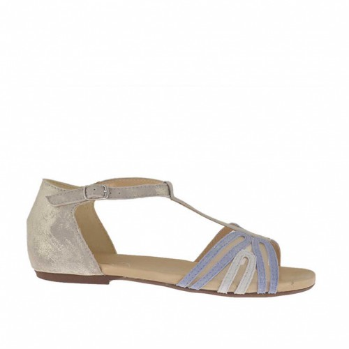 Woman's open shoe with net and t-strap in taupe, lilac and grey platinum laminated suede heel 1 - Available sizes:  33