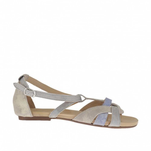 Woman's open shoe with t-strap in taupe, lilac and grey platinum laminated suede heel 1 - Available sizes:  33