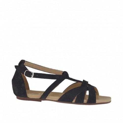Chaussure ouvert pour femmes avec courroie salomé en daim traité noir talon 1 - Pointures disponibles:  33