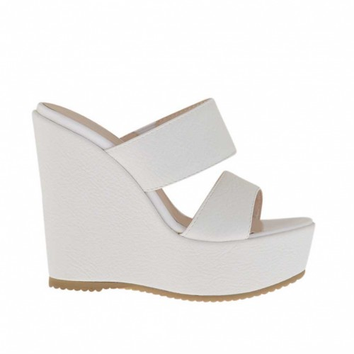 Woman's white printed open mules with platform and wedge heel 12 - Available sizes:  42