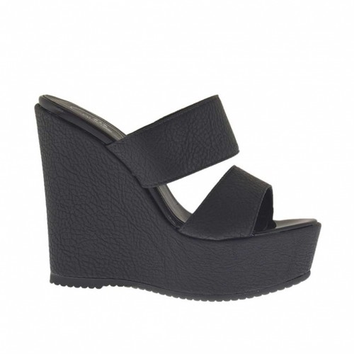 Woman's black printed open mules with platform and wedge heel 12|Z.12+4 - Available sizes:  42