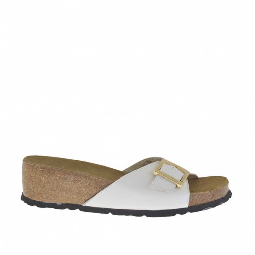 Woman's white open mules with adjustable buckle and cork wedge heel 4 - Available sizes:  42