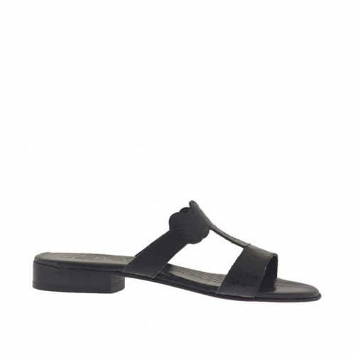 Woman's black open mules heel 2 - Available sizes:  46