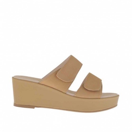 Woman's tan-colored open mules with velcro straps, platform and wedge heel 6 - Available sizes:  42