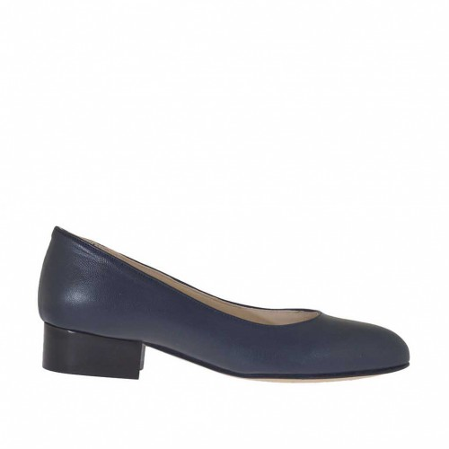 Woman's pump shoe in blue leather heel 3 - Available sizes:  32
