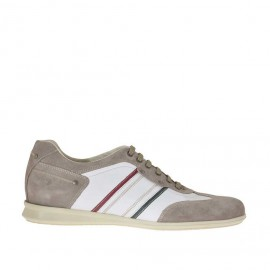 Men's laced sports shoe in taupe suede and white, red and green leather - Available sizes: 48