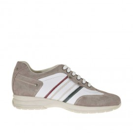 Men's sports shoe with laces in taupe suede and white, red and green leather - Available sizes:  36