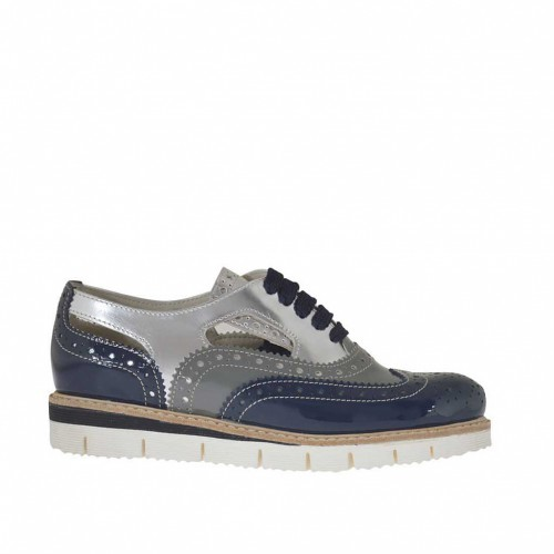 Woman's laced Oxford shoe in silver, grey and blue pierced patent leather wedge heel 2.5 - Available sizes:  33, 42