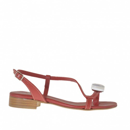 Woman's flip flop sandal with accessory in red leather heel 2 - Available sizes:  32, 33, 34, 42, 44
