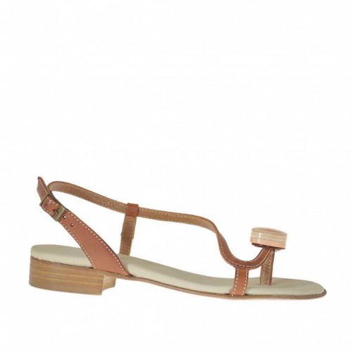 Woman's flip flop sandal with accessory in tan leather heel 2 - Available sizes:  32
