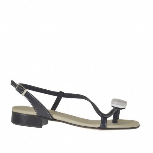 Sandale entre-doigt pour femmes avec accessoire en cuir bleu talon 2 - Pointures disponibles:  32, 33, 34, 43, 44