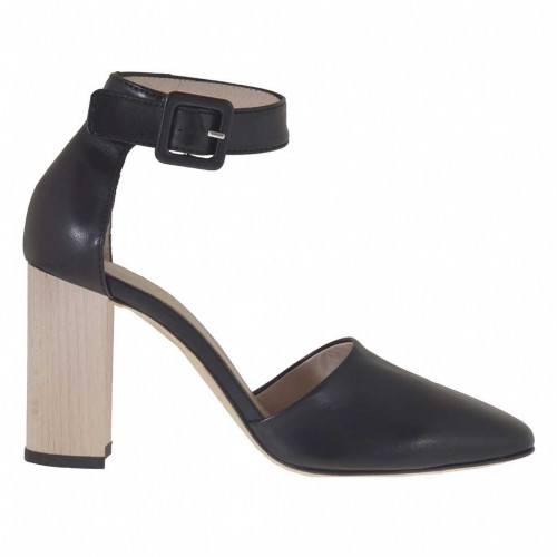 Woman's open shoe with strap in black leather with wood-colored heel 8 - Available sizes:  34, 43, 44