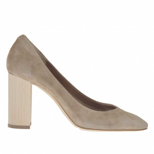 Woman's pump in taupe suede with wood-colored heel 8 - Available sizes:  43