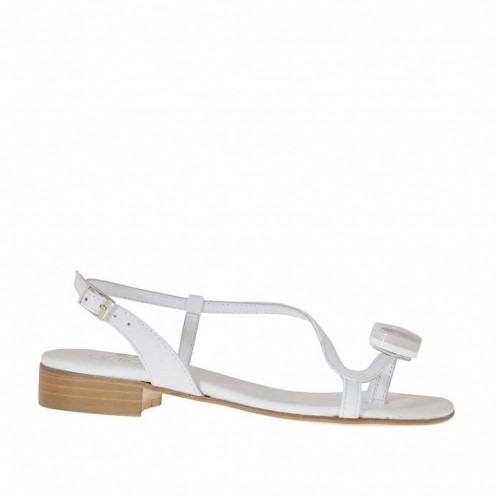 Woman's flip flop sandal with accessory in white leather heel 2 - Available sizes:  32, 45