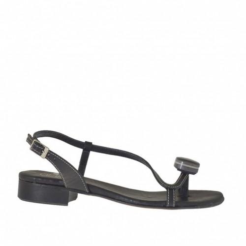 Sandale entre-doigt pour femmes avec accessoire en cuir noir talon 2 - Pointures disponibles:  33