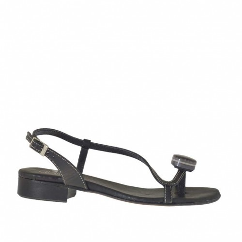 Woman's flip flop sandal with accessory in black leather heel 2 - Available sizes:  33