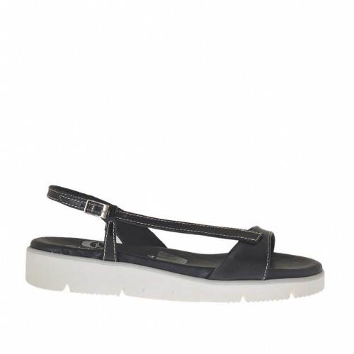 Woman's sandal in black leather and patent leather wedge heel 2.5 - Available sizes:  32, 42