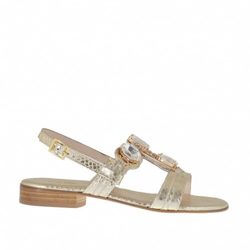 Woman's sandal in platinum printed varnish with rhinestones heel 2 - Available sizes:  32