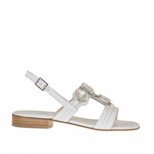 Woman's sandal in white printed varnish with rhinestones heel 2 - Available sizes:  32