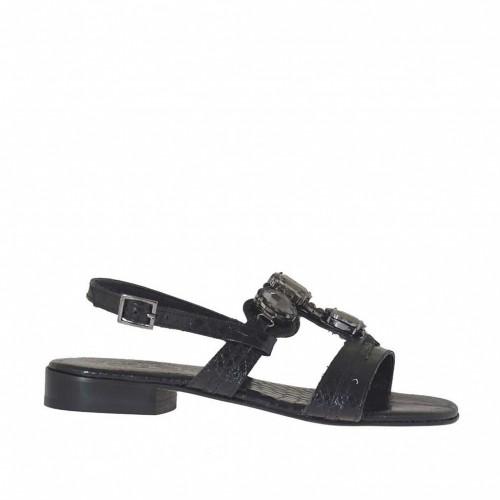 Sandale pour femmes avec pierres en vernis imprimé noir talon 2 - Pointures disponibles:  34