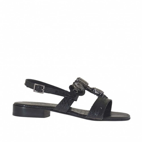 Woman's sandal in black printed varnish with rhinestones heel 2 - Available sizes:  33, 34