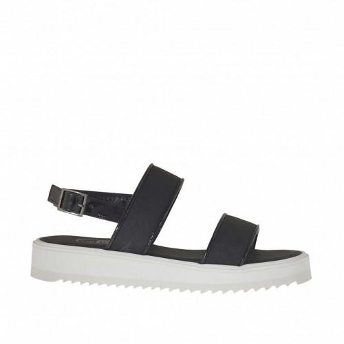 Sandale pour femmes en verni et imprimé noir talon compensé 3 - Pointures disponibles:  31
