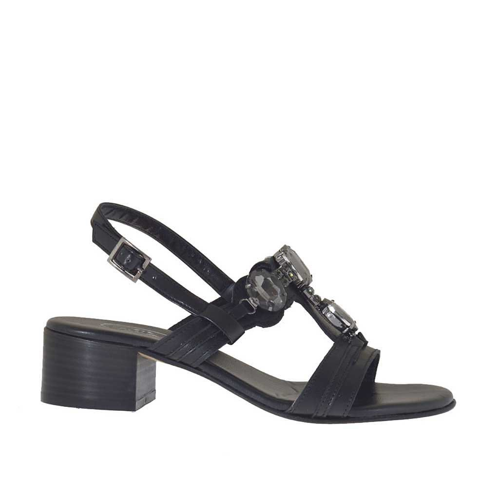 sandale noir pour femmes avec pierres talon 4 ghigocalzature. Black Bedroom Furniture Sets. Home Design Ideas