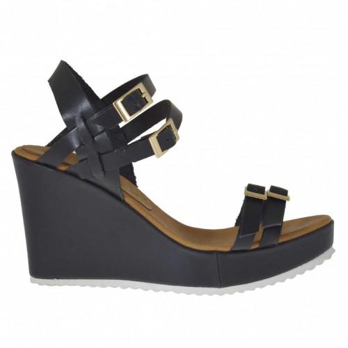 Sandale pour femmes avec plateforme, boucles et courroies réglables en cuir noir talon compensé 9 - Pointures disponibles:  43