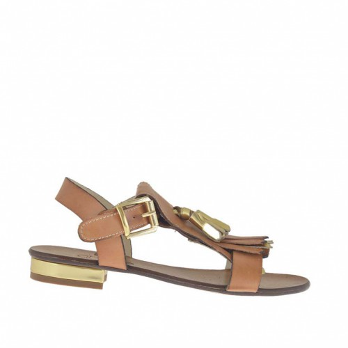 Woman's sandal with tassels and fringes in tan and golden leather heel 2 - Available sizes:  33, 34