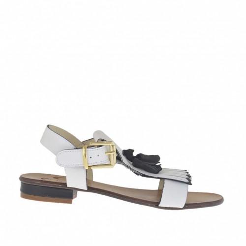 Sandale pour femmes avec glands et franges en cuir blanc et noir talon 2 - Pointures disponibles:  32