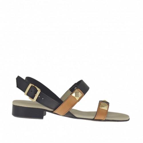 Sandale pour femmes avec goujons en cuir noir et brun clair talon 2 - Pointures disponibles:  45