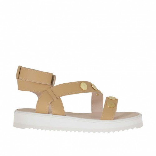 Woman's light tan sandal with studs, velcro strap and wedge heel 3 - Available sizes:  34, 42