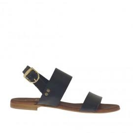 Sandalo da donna in pelle nera tacco 1 - Misure disponibili: 32