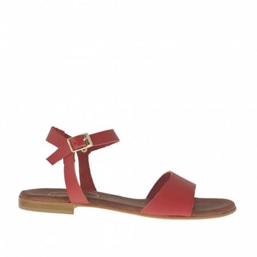 Sandale pour femmes avec courroie en cuir rouge talon 1 - Pointures disponibles:  32