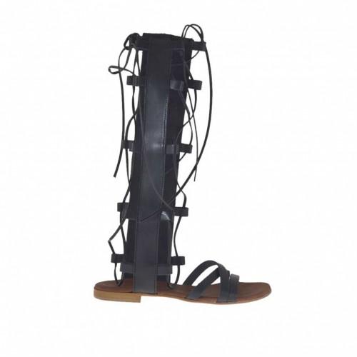 Sandale spartiates ouvert pour femmes avec fermeture éclair et lacets en cuir noir talon 11 - Pointures disponibles:  32, 33, 34, 42, 46