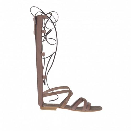 Chaussure spartiates ouvert pour femmes avec fermeture éclair et lacets en cuir taupe talon 11 - Pointures disponibles:  32, 33, 34, 43, 47