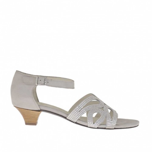 Woman's open shoe in ice-colored nubuck leather with strap and rhinestones heel 4 - Available sizes:  46