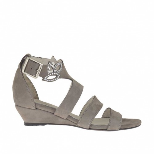 Woman's open strap shoe with rhinestones in dove grey nubuck leather wedge heel 3 - Available sizes:  45