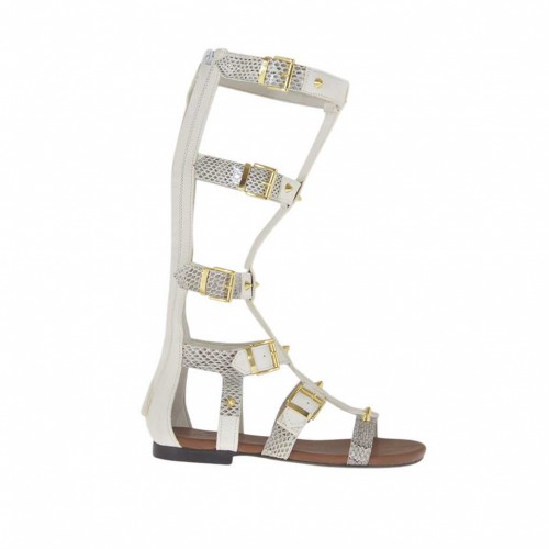 Woman's gladiator open shoe with zipper, studs and buckles in white and grey printed leather heel 1 - Available sizes:  32, 33, 34, 42, 43, 46