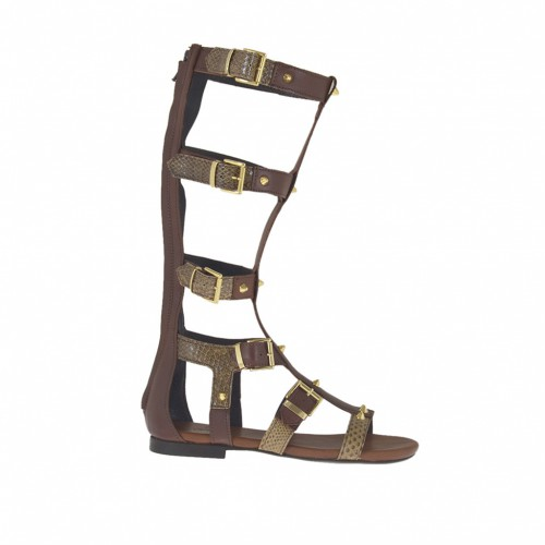 Woman's gladiator open shoe with zipper, studs and buckles in dark brown leather and printed leather heel 1 - Available sizes:  32, 33, 34, 42, 43