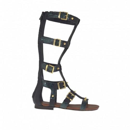 Chaussure spartiates ouvert pour femmes avec fermeture éclair, goujons et boucles en cuir noir et cuir imprimé vert talon 1 - Pointures disponibles:  32, 33, 34, 42