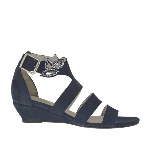 Woman's open strap shoe with rhinestones in blue nubuck leather wedge heel 3 - Available sizes:  46