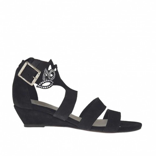 Woman's open strap shoe with rhinestones in black suede wedge heel 3 - Available sizes:  34