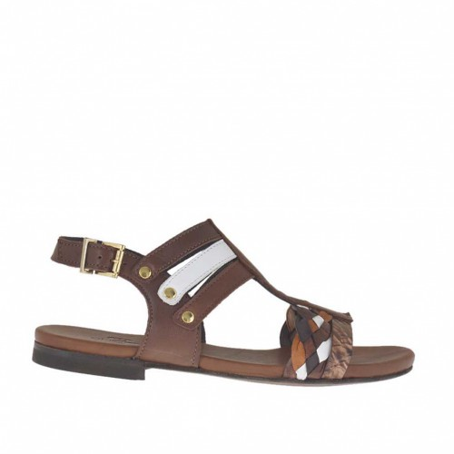 Woman's sandal with studs in dark brown, white and tan braided and printed leather heel 1 - Available sizes:  32, 46
