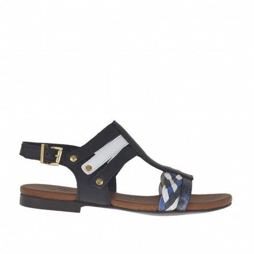 Woman's sandal with studs in black, white and blue braided and printed leather heel 1 - Available sizes:  46