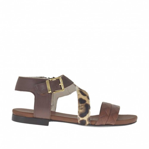 Woman's strap sandal in dark brown, printed tan leather and leopard horse leather heel 1 - Available sizes:  32, 46