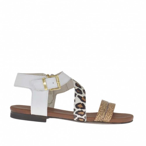 Woman's strap sandal in white, printed tan leather and leopard horse leather heel 1 - Available sizes:  33, 42