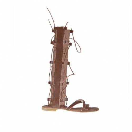 Woman's gladiator sandal with zipper and laces in tan leather heel 1 - Available sizes:  32, 33, 34, 42, 43, 45, 47