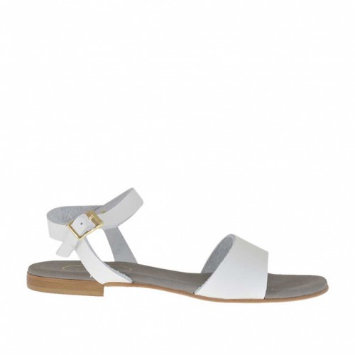 Woman's strap sandal in white leather heel 1 - Available sizes:  32